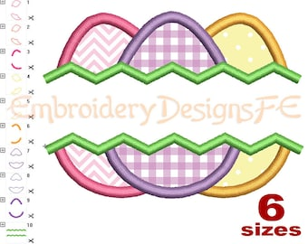 Easter Egg Split Applique - 6 Sizes - Machine Embroidery Design File