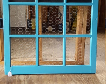 Blue Frame w/ Chalkboard and Chicken Wire
