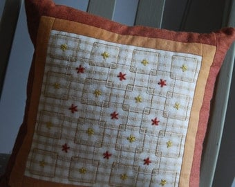 Decorative Embroidered Pillow, Hand Embroidered Cushion, Cushion Cover, Pillow Cover, Patchwork Cushion, Cushions