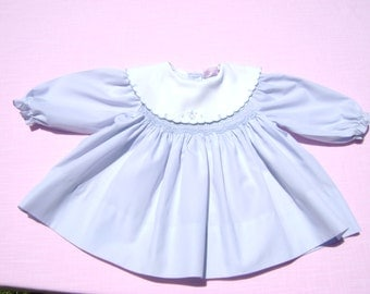 vintage jelly n jam girls dress with smocking size 6-9 months see measurements no size tag light blue floral