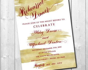 REHEARSAL DINNER Invitation holiday printable/gold, red, cranberry, calligraphy, night before, wedding/Digital file/wording can be changed