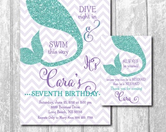 Mermaid Birthday Invitation with matching Favor Tag/DIGITAL FILES/ colors can wording can be changed