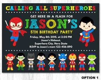 Superhero Birthday Invitation, Superhero Boy Invitation, Superhero Invitation, Superhero Invite