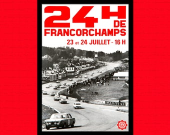 Car Racing 24h of Francorchamps Poster 1958  - Vintage Car Mans Poster Advertising Retro Wall Decor Office decorationt