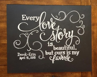 Every love story is beautiful, but ours is my favorite chalkboard