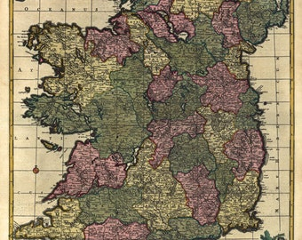 MP51 Vintage 1700's Historical Antique Old Latin Map Of Ireland Europe Poster Re-Print Wall Decor A1/A2/A3