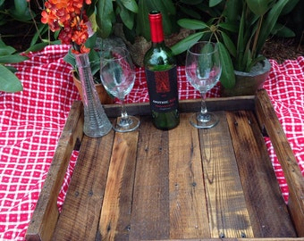 Handcrafted wood tray from reclaimed wood #5