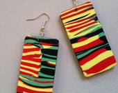 Rasta Colours Rectangles, Dangle Earrings, Gift Idea, Gift for Her, Handmade, Polymer Clay, Red, Gold, Green and Black.