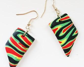 Rasta Colours Earrings, Jewellery, Chandelier, Gift for Her, Polymer Clay, Urban, Designer Earrings, Small Earrings, Cultural Earrings.