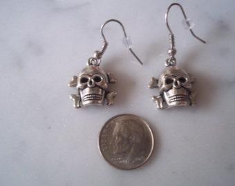 SKULL AND CROSSBONE....earrings...small.....pierced.....
