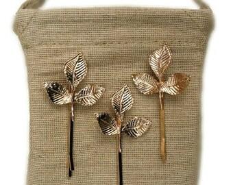 SET | 3 Gold Leaf Bobby Pins |  Rustic Woodland Wedding Hair Pins | Gold Bridal Leaf Hairpins | Botanica | Nature Hair Jewelry | Bibijoux