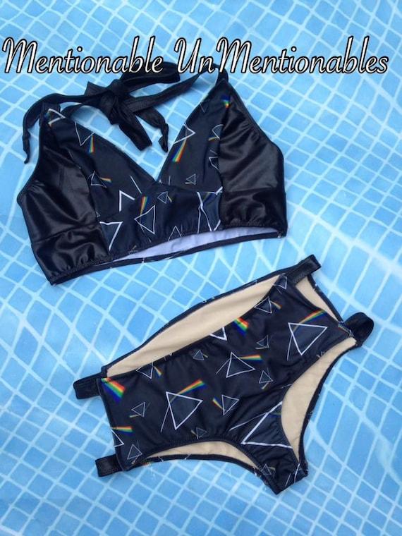 Strappy Rockabilly Rock and Roll Two Piece Bikini Swimsuit - Pink Floyd Inspired - Sexy Swimwear