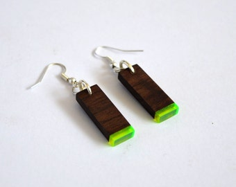 Black Walnut and Flourescent Neon Green Acrylic Accent Earrings