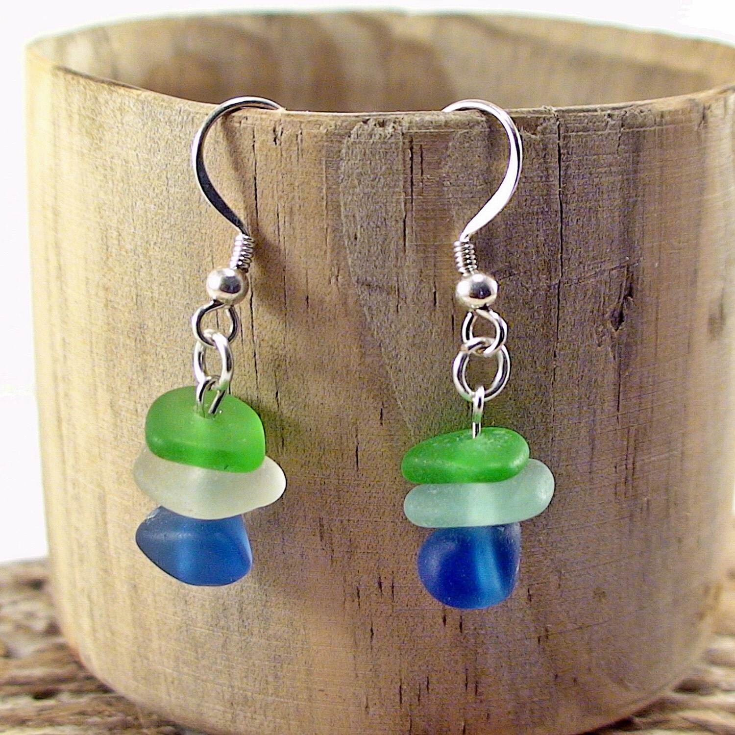 sea glass earrings multicolored 925 sterling silver sea glass