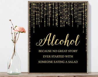 Alcohol Sign DIY / Funny Bar Sign / Gold Wedding Sign / Great Gatsby, Bokeh Light / Black and Gold Calligraphy ▷Instant Download JPEG