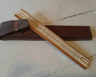Nestler 23R3 Reitz Slide Rule Mathematics Calculator with leather case