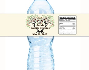 Family Reunion Water Bottle Labels - Family Reunion Favors - Reunion Favors - Family Tree - Reunion Decor - Reunion Party Favors