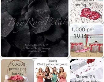 500 Black Silk Rose Petals -Black Rose Petals for Weddings - Artificial Rose Petals