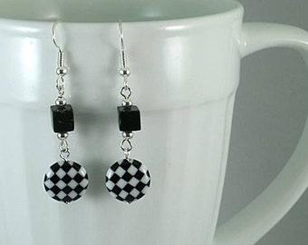 SCA Checky - Black & White Checkerboard  Glasswork Bead Earrings
