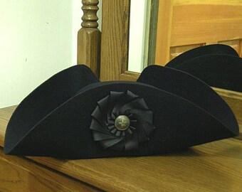 Black Cockade Laced Tricorn - Cocked Hat - Colonial Tricorne - British Cockade