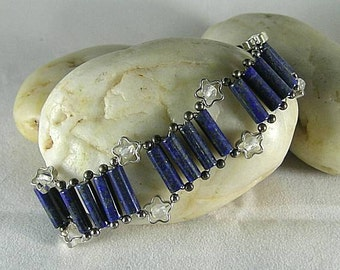 Lapis Lazuli and Star Moonstone  Egyptian Princess - Goddess Bracelet
