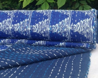 Shibori, Indigo Quilt with All Over Kantha Work- 100% Cotton, Reversible, Quilt/ Bed Spread