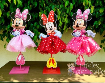 Minnie Mouse Birthday Decoration Tutu pink or red wood table centerpiece Birthday Decor favor for Birthday or Baby Shower PRICE PER PIECE