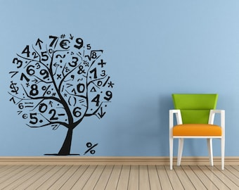 Wall Decal Vinyl Sticker Bedroom Nursery Mathematics tree numbers letters bo2896