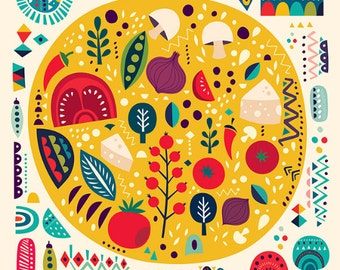 Decorative pizza. Colorful pattern PIZZA elements. Fine art PRINT giclee rag paper or CANVAS. Beautiful print for living room, dinner room