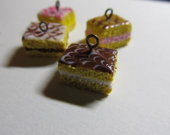 Miniature polymer clay cake charms