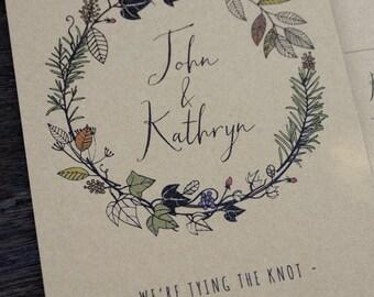 Autumn Flora & Fauna Hand Drawn Wedding Invitations + Information Card