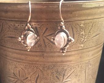 Moon Stone Earring-Sterling Silver Earring-Handmade Vintage Earring-Ethnic-Hippy-Gypsy-LV23