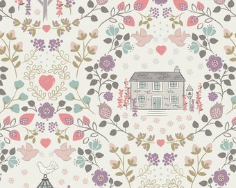 House Print Cotton Fabric, Patchwork Fabrics and Quilting Cotton - Fat Quarter