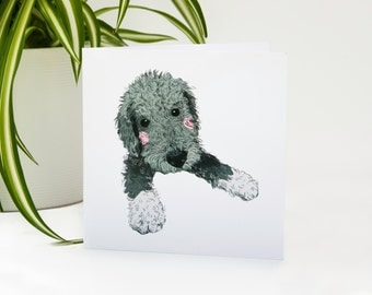 Bedlington Terrier Puppy - Illustrated Greeting Card