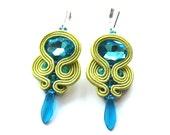 Soutache Earrings Turquoise Green Earrings Small Soutache Jewelry Blue Green Jewelry Colorful Gift For Woman Lightweight Summer Earrings