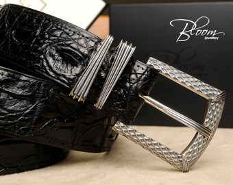 Genuine Leather Belt with Sterling Silver Buckle and Gift Box Solid Silver Belt Sterling Silver Belt Sterling Silver 925 Buckle