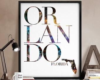 Orlando Florida state poster, Orlando Florida print, Orlando Florida state map, Orlando Florida poster, Wall art, Home Decor, iPrintPoster.