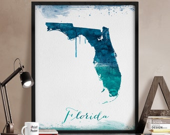 Florida state map print, Florida state map watercolor poster, Florida map painting, US Florida map print, wall art, Home Decor, iPrintPoster