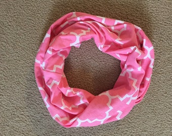 Pink and White Lattice Infinity Scarf