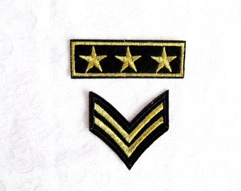 Gold emblem braid military stripe With stars aviation tag grade custom Iron On Embroidered Patches Applique black