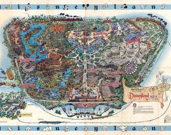 "Disneyland Map 1962 Vintage  Giclee Fine Art Print 18""x 27"""