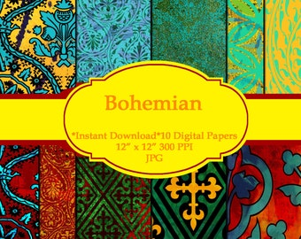 "Bohemian Digital Paper Commercial Use Scrapbook 12"" x 12"" 300 DPI"