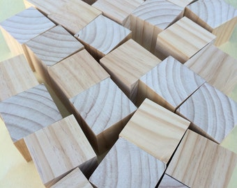 30 x Large wooden Montessori blocks - 70x70mm Cubes