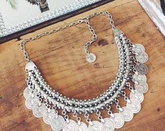 Boho Necklace Boho Coin Necklace Coin Statement Necklace Boho Jewelry Gypsy Necklace