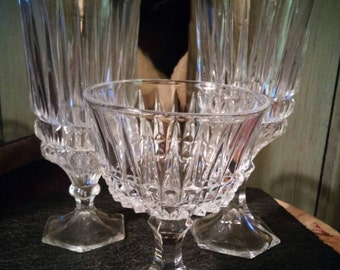 Fostoria Heritage Pattern Water. Iced Tea and Champagne Goblets