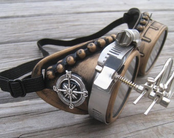 Burning Man Goggles with Necklace -Steampunk Glasses -Steampunk Goggles-Welding Goggles