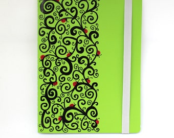 "Hand drawn, Green, swirls, ladybug Journal, Notebook, Sketch Book, blank paper, 7.75 x 6"", 50 pages"