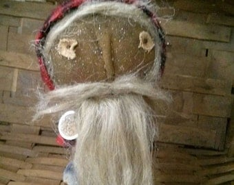 Primitive Folk art Santa make do Christmas Rustic Faap Hafair haha
