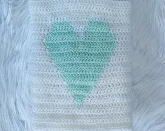Heart blanket - white - mint - baby shower gift