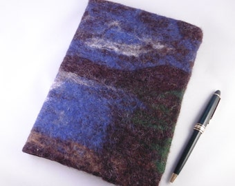 Nightfall Over The Loch: A5 Hand-felted Removeable Journal Cover